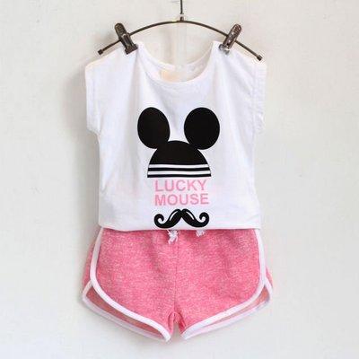 2015韓版女童夏季新款字母鬍子可愛米奇短袖+短裤套裝
