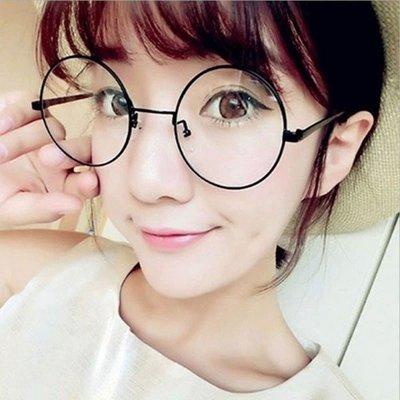 5Cgo【權宇】韓風設計五種顏色超大鏡面復古眼鏡框全框金屬平光男女通用超輕圓框眼鏡+盒子+清潔布 一標10個組合 含稅