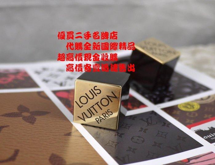 ☆優買二手名牌店☆ LV 限量色 專利 壓克力 樹脂 骰子 黃銅 金屬 LOGO 髮束 咖啡 I