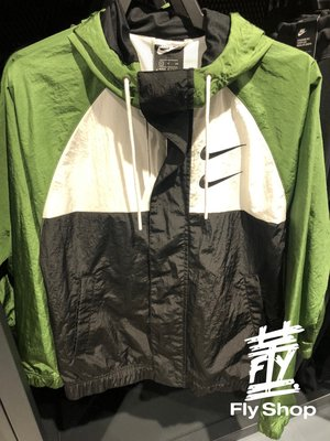 [飛董] Nike Sportswear NSW SWOOSH 大勾勾 風衣 連帽外套 男裝 CJ4889 010 黑綠
