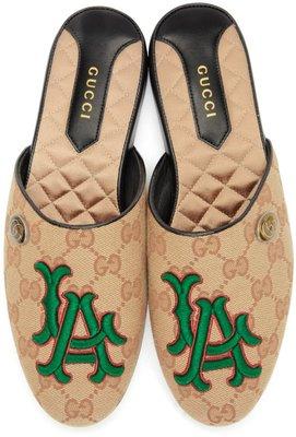 ~克莉絲丁時尚衣櫥~Gucci x LA Dodger 大聯盟超限量聯名洛杉磯道奇隊帆布樂福鞋/拖鞋/穆勒鞋