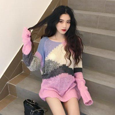 秋裝新款chic早秋上衣女韓版氣質寬松時尚百搭套頭拼色長袖針織衫