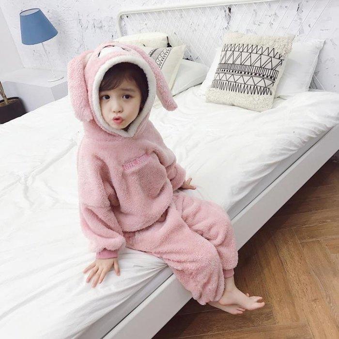 女寶寶冬裝珊瑚絨家居服小女童秋冬季法蘭絨睡衣兒童套裝