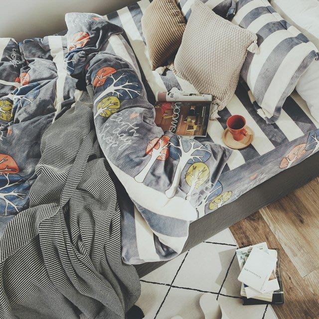 法蘭絨 6尺/雙人加大抗靜電鋪棉床包被套組【森森】絲薇諾