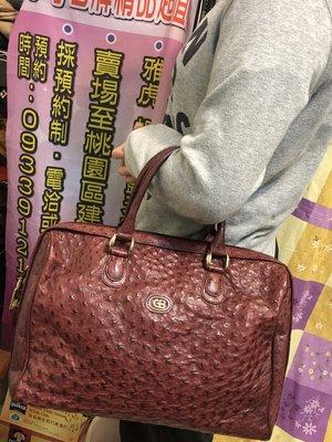 fyfy名牌精品稀有真鴕鳥皮製手提包肩背包原價4萬多現1元起標