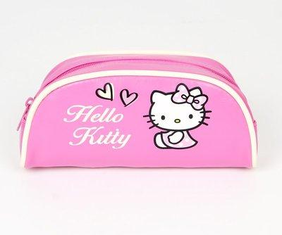 【Q包小屋】日本 三麗鷗 SANRIO Hello Kitty 有標籤 PU皮 桃色 化妝包 收納袋 鉛筆盒