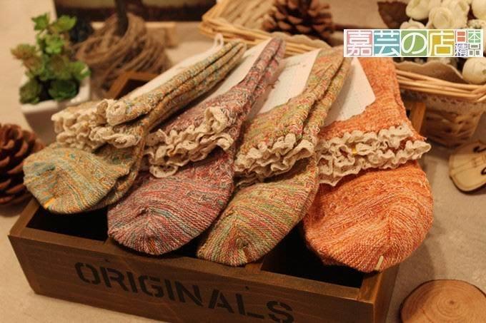 嘉芸的店 日本棉質蕾絲荷葉邊日本襪子 復古日本棉質拚色短襪 雜誌款日本襪子 四季全棉日本花邊中筒襪 七雙990