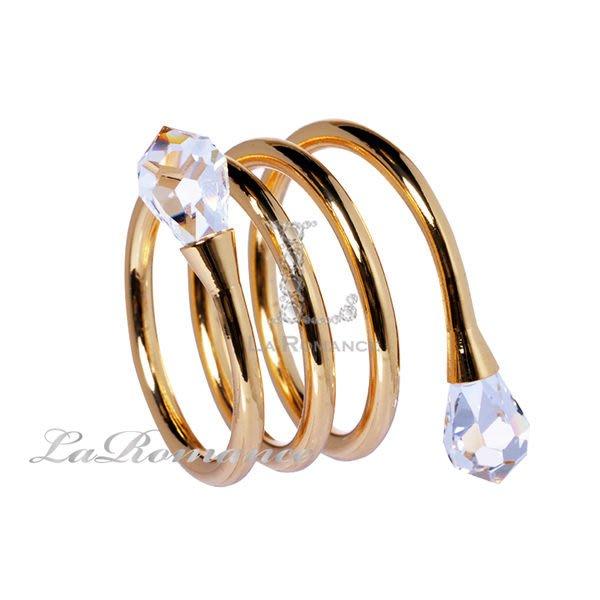【芮洛蔓 La Romance】奢華鍍金螺旋水晶餐巾環 (單個)
