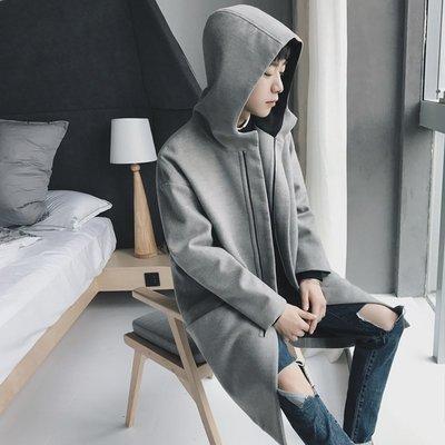 毛呢 大衣 外套 中長款 寬鬆冬季新款氣質灰色連帽寬松毛呢大衣男中長款韓版青少年呢子外套潮