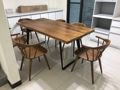 【新精品】WF-169 工業風柚木7尺餐桌 不含椅 高雄-台北 搭配車趟免運費