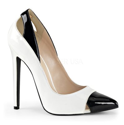 Shoes InStyle《五吋》美國品牌  PLEASER 原廠正品漆皮尖頭高跟包鞋 有大尺碼『黑白色』