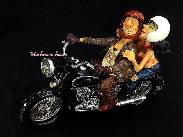 點點蘑菇屋 歐洲進口精緻法國社會寫實派設計師FORCHINO系列擺飾-騎古董摩托車載辣妹 Moto 現貨 免運費