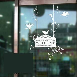 小妮子的家@小鳥歡迎吊牌壁貼/牆貼/玻璃貼/汽車貼/安全帽貼/磁磚貼/家具貼