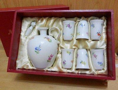 歐洲美瓷坊-德國Meissen-Scattered Flowers繽紛落花烈酒杯壺組(一壺六杯附原裝盒)+1924年花瓶