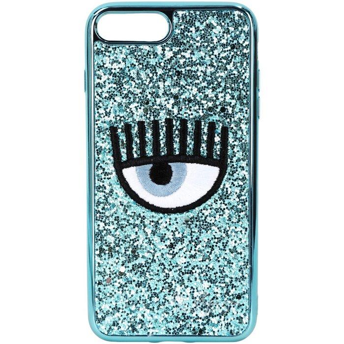 米蘭廣場 Chiara Ferragni i7/8 PLUS 刺繡眼睛天空藍亮片手機殼(5.5吋)1920672-23