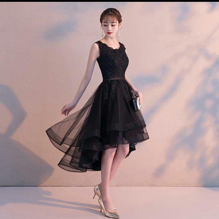 歐美 圓領 蕾絲 禮服 圓領 晚宴 伴娘服 表演 婚紗 絕美 法式 浪漫 洋裝 前短後長 顯瘦 Me Gusta