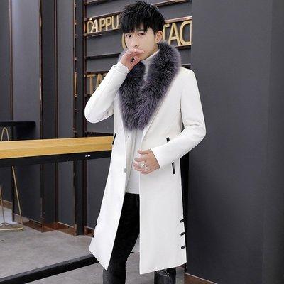 風衣男白色修身長款韓版青少年帥新氣加長過膝大衣男P新U黑色皮外套潮dn