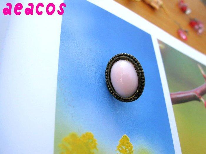 AEACOS@古董 古著 vintage retro MODs 嫩粉紅 古銅花邊 橢圓 單耳 針式耳環