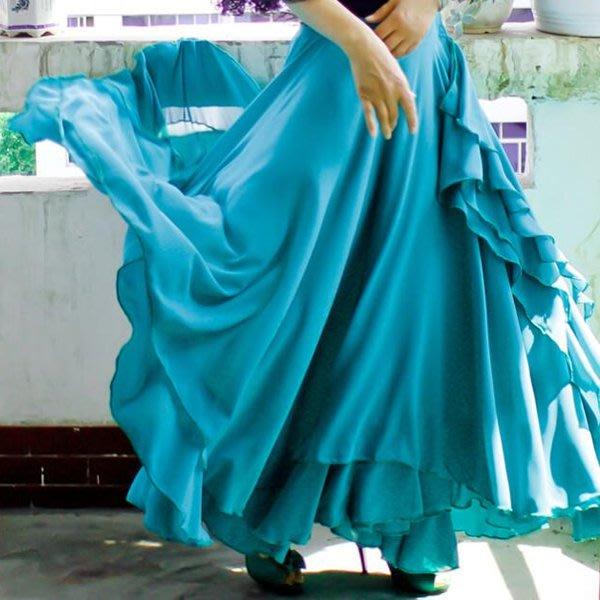 5Cgo【鴿樓】會員有優惠 35782376837 探戈風弗朗明哥風格俄羅斯肚皮舞裙子 舞衣 長裙裙擺720度 需訂做