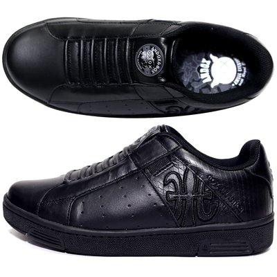 ROYAL 82073-999 全黑 ICON 皮質無鞋帶休閒運動鞋(童鞋1-4號)【加贈鞋油和襪子】651R