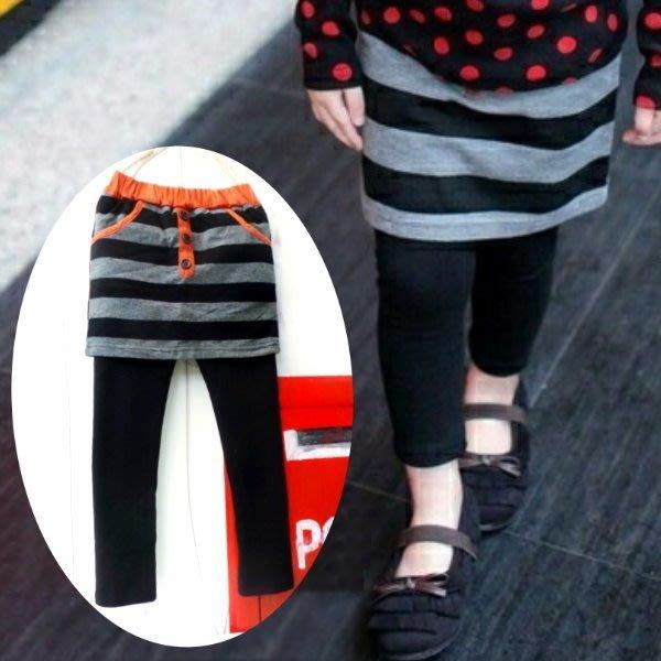 【班比納精品童裝】3釦條紋褲裙-黑