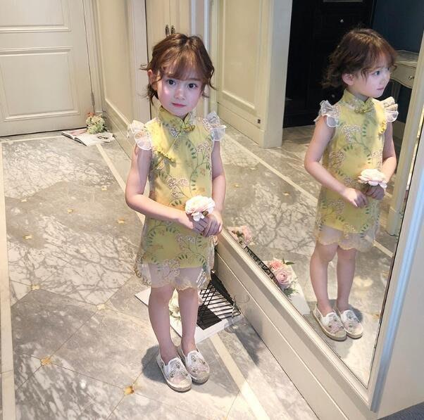 童裝 女童改良旗袍 兒童盤扣刺繡蕾絲洋裝  中國風連身裙—莎芭