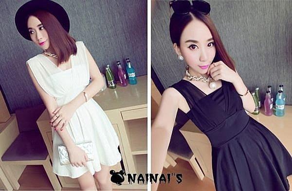 【NAINAIS】Sophia‧S 3249 韓版 夜店跑趴 小透肌雪紡拼接無袖大裙擺洋裝 2色預