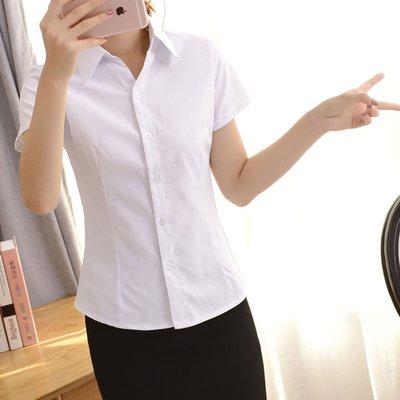 滿千免郵=  白襯衫短袖職業條紋V領尖領修身工作服正裝斜紋襯衣女裝 =可連身裙洋裝棉麻襯衫雪紡韓版帽