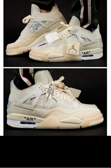 現貨-Air Jordan 4 AJ4 x OFF-WHITE OW 帆白蝉翼男鞋 CV9388-100