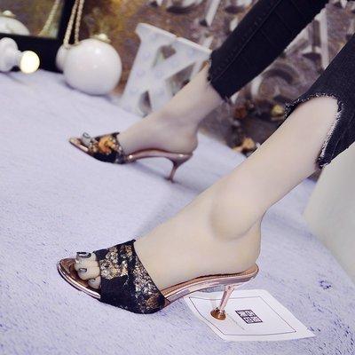 【Sunny私人定制 輕奢女裝】拖鞋女夏時尚外穿個性正韓設計2018新款印花貓眼鞋細跟性感一字拖中跟