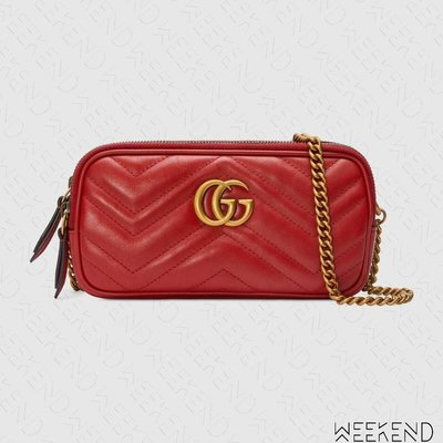 【WEEKEND】 GUCCI GG Marmont Mini Chain 迷你 鍊條 肩背包 紅色 546581