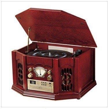 【優上精品】唱片黑膠唱片機留聲機 老式唱片機 立體收音機 CD播放自動回臂功(Z-P3237)