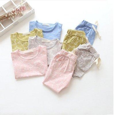 ♥【BS5018】韓版男童裝星星七分褲套裝 4色 (粉色 現貨) ♥