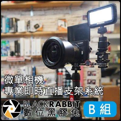 數位黑膠兔【 微單 相機 專業 即時 直播 支架 系統 (B) 】 SK-PL30 錄影 補光燈 外接 麥克風 熱靴