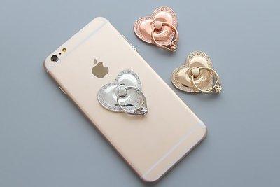 【00072】 復古金屬奢華愛心鑽戒造型 手機指環扣 懶人支架