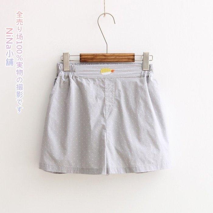NiNa小舖【DS6521】日系學院風波點炸蝦壽司刺繡裝飾鬆緊腰俏皮褲裙短褲(淺灰)預購