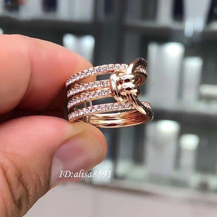 Swarovski飾品 新款繩結女生戒指 情人羈絆寓意玫瑰金色水晶鑽戒 扭結戒指5412071 情人節禮物