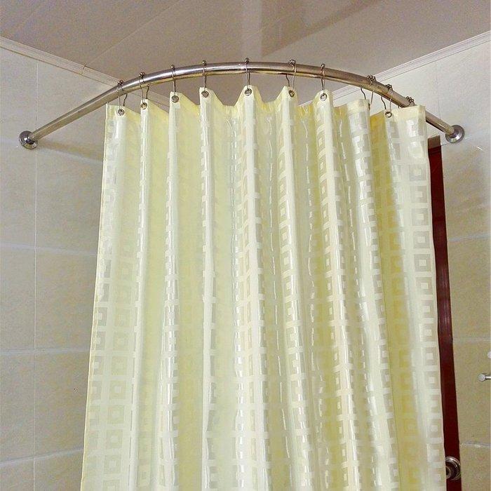 星美衛生間浴室套裝304不銹鋼L型浴簾桿弧形浴簾桿+浴簾+掛環
