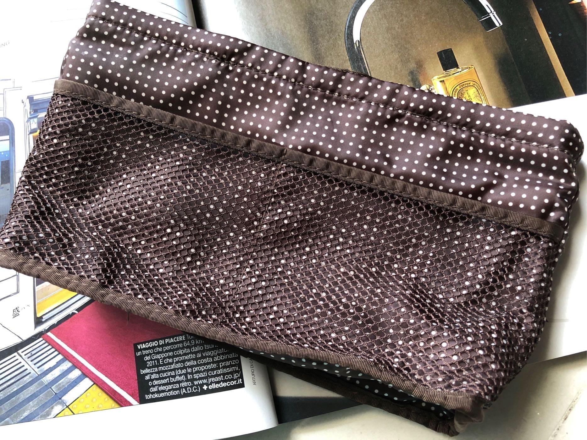 東京攜回「米日它麻」咖啡色點點袋中袋,包中包,分類包,保持袋中空間整齊,方便取物,寬26/高15/底部展延寬6.5
