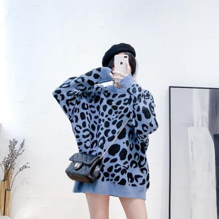 中長款豹紋毛衣女2018新款套頭寬鬆打底秋冬網紅慵懶風仿羊毛衫潮