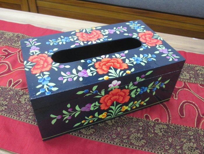 【肯萊柚木傢俱館】印度異國風情 油木手工採繪面紙盒  限量商品