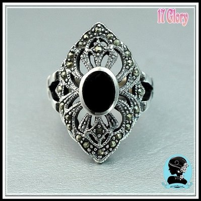 神秘925純銀天然黑瑪腦&馬克賽礦石 手工雕刻古典鑲工戒指~ 歐美設計款 ~珠寶時尚精品 #現貨✽ 17 Glory ✽