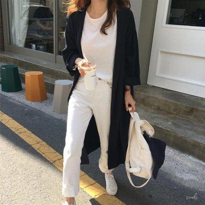 秋季新款韓版港味寬鬆大衣系帶收腰薄款中長款風衣外套女--韓佳流行館