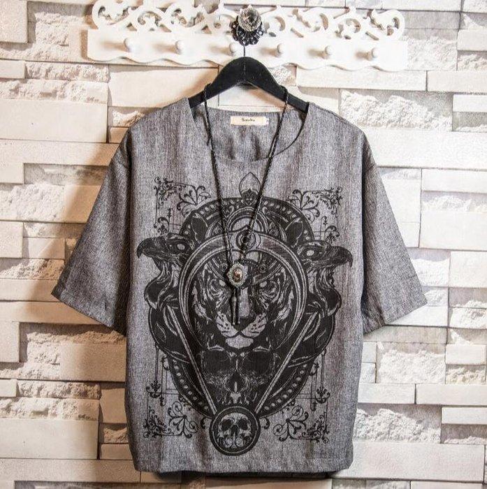 仿亞麻t恤  日系複古  新款獅子印花 五分袖青年打底衫  大碼裝 M~5XL—莎芭