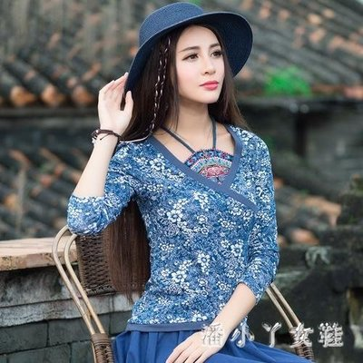民族風上衣 秋裝新款女裝中國風長袖T恤秋裝復古假兩件肚兜T恤 df6692- -獨品飾品吧☂