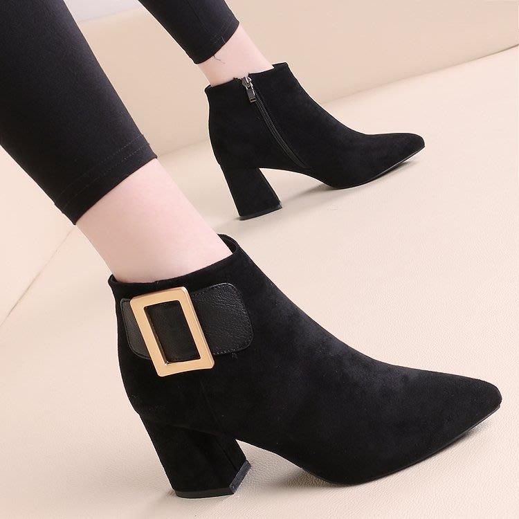 短靴 馬丁靴 高跟 韓版 婚鞋粗跟女短靴新款歐美秋冬短筒靴高跟皮帶扣側拉鏈馬丁靴及踝靴