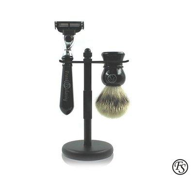 GOODFORIT / Frank Shaving Mach3 Ebony Set霧黑純獾刮鬍套組