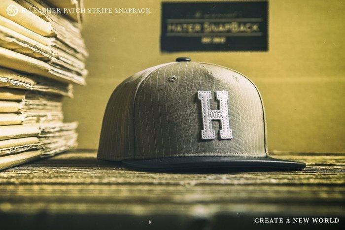 "[ RENEXO ] HATER ""H"" Leather Patch Stripe Snapback 皮革製標 棒球帽"