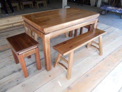 A045 {崙頂傳統原木家具行}~杉木邊框實木桌配杉木板凳及杉木實木椅整組 接受訂做.訂色