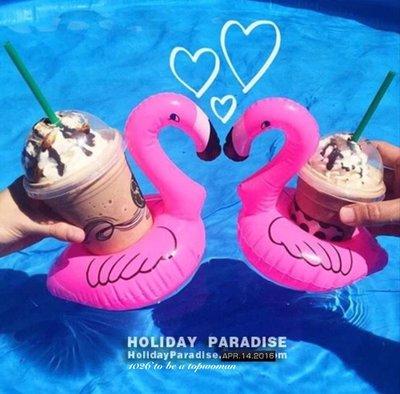 1026  休閒度假海邊沙灘泳池 迷你粉紅天鵝鴨鴨 充氣浮圈救生圈 戲水游泳圈 香檳飲料杯架